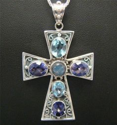 "Nicky Butler Sterling Silver 2 75"" Cross Moonstone Blue Topaz Amethyst 24"" Chain 