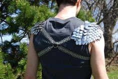 2 piece Unisex Chain mail and scale mail shoulder armor, pauldrons, spaulder, epaulet, epaulettes, dragon skin and cross chest strap on Etsy