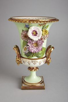 Vase of porcelain painted with enamels and gilded, Barr, Flight & Barr, Worcester, ca. Porcelain Flowers, Porcelain, Art Decor, Pottery, Vase, Beautiful Vase, Glass Ceramic, China Porcelain, Flower Vases