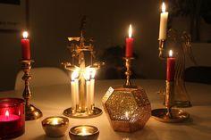 Candle and brass. Iittala, Skultuna, Tom Dixon, Angel chimes and Svenskt Tenn.