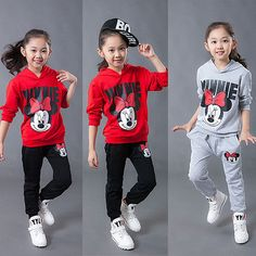 2-7Years Girls Minnie Mouse Sweatsuit Hoodie Top+Pants 2pcs Set Outfits Clothes