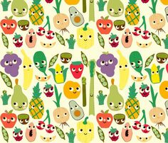 fruit and veggie madness fabric by heidikenney for sale on Spoonflower - custom fabric, wallpaper and wall decals