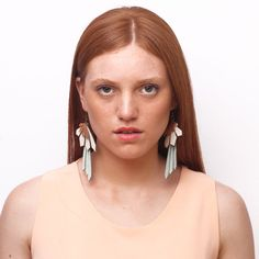 TORCAZA leather earrings (copper-cream-brown)