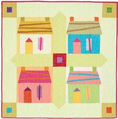 """Quilt Inspiration: Free pattern day! Caribbean Houses quilt, 42 x 42"""" , free pattern by Pam Rocco for Quilters Newsletter (PDF download)"""