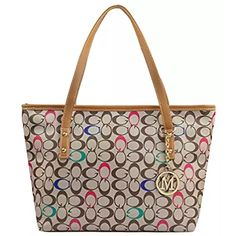 f6891fc1fcf MICOM Casual Signature Printing Pu Leather Tote Shoulder Handbag with Metal  Decoration for Women