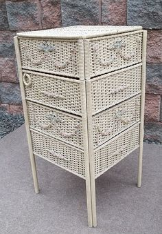 Shabby Swag Barbola Rose Chic Wicker Sewing Stand Table i have two of these in my garage...