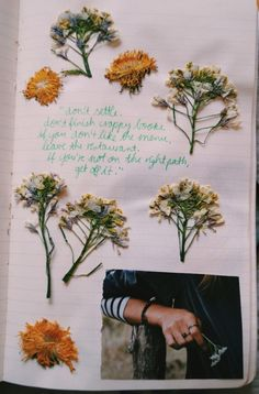 Mixing photography, typography, and some beautiful pressed flowers. That's the beauty of a journal- it's whatever you want it to be! Scrapbook Journal, My Journal, Journal Pages, Bullet Journal, Journal Entries, Art Hoe, Visual Diary, Art Journal Inspiration, Journal Ideas
