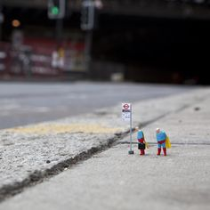 """instagram: """" Miniature Street Art with @slinkachu_official For more photos from the micro level, follow @slinkachu_official on Instagram. Slinkachu's (@slinkachu_official) miniature installations..."""