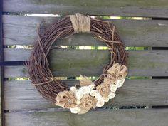 Handmade burlap and Felt flower Rustic Fall Wreath