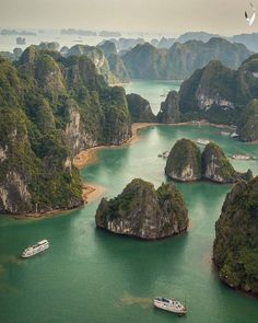 Vietnam • @micagius Ha Long Bay he bay is dotted with approximately 1,600 islands and inlets, including many massive greenery-covered limestone pillars.