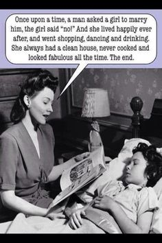 I wish my Mama would have read me this bedtime story . Not really but did think this was funny Josie Loves, Funny Captions, Lol, Retro Humor, Retro Funny, Vintage Humor, Funny Vintage, Funny Relationship, Bedtime Stories