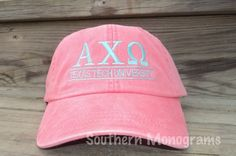 Personalized Monogrammed Baseball Cap Hat. Sorority Greek Letters available. MANY COLORS to choose from. $13.99, via Etsy.