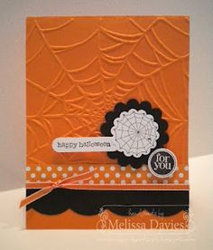 """Stamps: Mixed Melody, Teeny tiny Wishes Ink: Basic Black  Paper: Pumpkin Pie, Basic Black, WHisper White, Polka Dot Parade DSP  Accessories: Scallop Circle punches, Word Window punch, 3/4"""" circle punch, Spider Web embossing folder, Large Scallop Edgelit, 1/8"""" Pumpkin Pie Taffeta ribbon"""