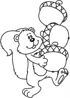 Squirrel & Acorns Preschool Painting, Fall Preschool Activities, Preschool Colors, Thanksgiving Preschool, Preschool Crafts, Preschool Coloring Pages, Fall Coloring Pages, Coloring Books, Autumn Crafts