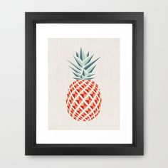 Pineapple  by basilique as a high quality Framed Art Print.  Worldwide Shipping available at Society6.com. Just one of millions of products available.