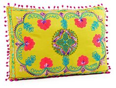 One Kings Lane - Whimsical Accents - Botany 14x20 Embroidered Pillow, Multi