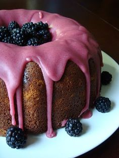 Blackberry Jam Cake, which is baked in a bundt cake pan. The glaze is blackberry jam and confectioners sugar. Food Cakes, Cupcake Cakes, Cupcakes, Blackberry Jam Cake, Blackberry Recipes, Raspberry Cake, Blackberry Pound Cake Recipe, Blackberry Bush, Blackberry Bramble