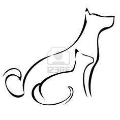 cat and dog sitting silhouette - interested only in cat profile