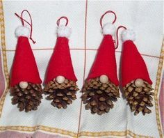 The Free Money-Saving Tips Ezine: Homemade Christmas Ornaments: Pinecone Gnomes – crafts – Weihnachten Homemade Christmas Decorations, Diy Christmas Ornaments, Simple Christmas, Handmade Christmas, Holiday Crafts, Homemade Ornaments, Santa Crafts, Pine Cone Decorations, Thanksgiving Crafts