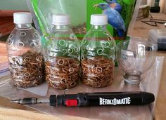 Chicken boredom buster - treat bottle. Burn holes in the sides of a water bottle, fill with meal worms, scratch or other small treats. Hang for them to peck at and play with, treats will fall out of the holes.