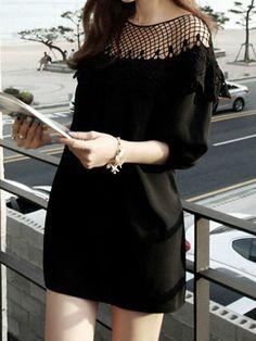 Black Dress with Lace Shoulder//