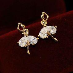 2017 Cute Crystal Dancing Girl Stud Earrings All Match Sterling Silver Jewelry Wedding Earrings For Women Asymmetric CC Charms - free shipping worldwide