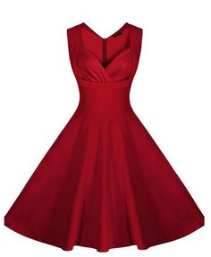 Red Plain Pleated Sleeveless V-neck Fashion Midi Dress