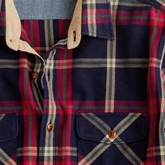 Wallace and Barnes heavyweight flannel shirt in Lynde Point plaid $98 available exclusively at J. Crew