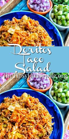 Taco Chip Salad A crunch taco salad with savory taco meat and crispy nacho chips. Cheddar Cheese and french dressing give it some zing. A crunch taco salad with savory taco meat and crispy nacho chips. Cheddar Cheese and french dressing give it some zing. Dorito Taco Salad Recipe, Taco Salad Doritos, Taco Salad Bowls, Taco Salad Recipes, Mexican Food Recipes, Dinner Recipes, Game Salad, Doritos Recipes, Layered Taco Salads