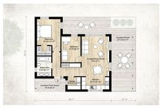 Modern Style House Plan - 2 Beds 1.00 Baths 850 Sq/Ft Plan #924-3 Floor Plan - Main Floor Plan - Houseplans.com