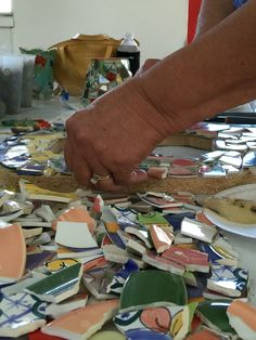 Nancy is working on her first mosaic project.