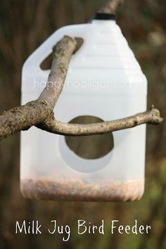 Milk Jug Bird Feeder made from plastic container…need more milk jugs? FAST? Visit your local Starbucks and ask them to save some for you!