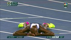 08.13.16 Gold medalist, Great Britain's Mo Farah, collapses to the track after winning a very hotly contested 10k. He had to regroup after falling early in the race. #Rio2016