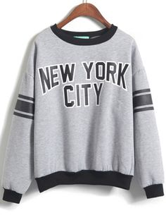 Shop Grey Long Sleeve NEW YORK CITY Print Sweatshirt online. Sheinside offers Grey Long Sleeve NEW YORK CITY Print Sweatshirt & more to fit your fashionable needs. Free Shipping Worldwide!