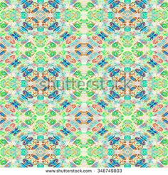 Digital collage and manipulation technique decorative vintage geometric ornate seamless pattern in pale mixed colors