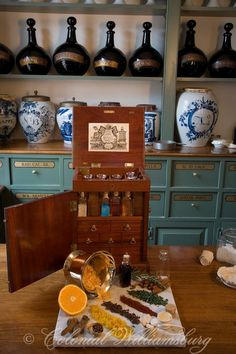 Apothecary shop interior with 18th Century medicines.
