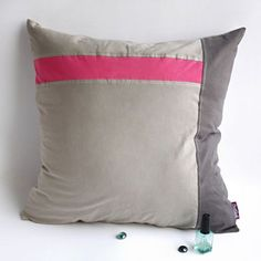 Onitiva - Gray Demon Knitted Fabric Patch Work Pillow Cushion Floor Cushion