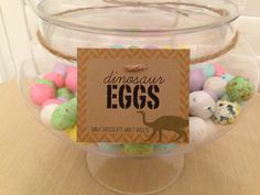 Dinosaur Birthday Party Food Labels - stock up on eggs at Easter time