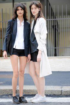giackit:  Mica Arganaraz and Helena Severin after the Prada S/S15 Menswear show. Photo by Giacomo Cabrini