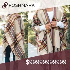 💥Plaid Wrap Poncho💥 Beautiful for fall! Plaid wrap poncho Oatmeal color One size fits most Very High Quality   $55 PRICE FIRM Sweaters Shrugs & Ponchos