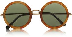 The Row Brown Round-Frame Acetate And Metal Sunglasses