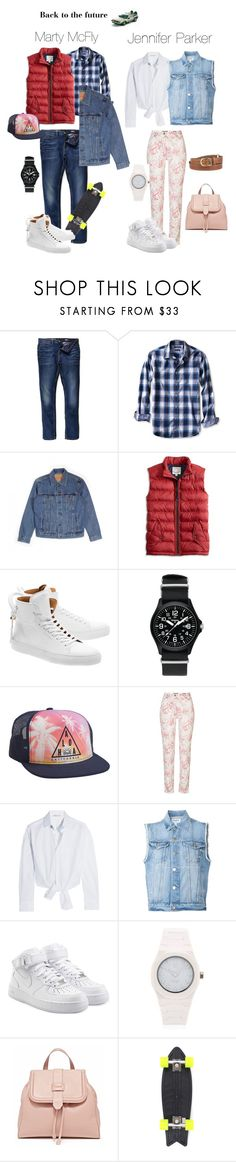 """Back to the future"" by gema-z ❤ liked on Polyvore featuring River Island, Banana Republic, Levi's, Lucky Brand, BUSCEMI, Traser, Aéropostale, Betty Barclay, Maje and Frame Denim"