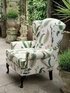 Queen Anne chair in GP&J Baker Ferns fabrics- Botanicals Chair Upholstery, Chair Fabric, Upholstered Furniture, New Furniture, Furniture Buyers, Queen Anne Chair, Queen Anne Furniture, Old Sofa, Classic Sofa