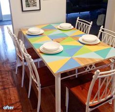 Is your kitchen table in need or a colourful refresh? How about painting the top is fresh geometric shapes?
