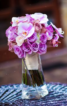 Purple Orchids and Roses Bouquet