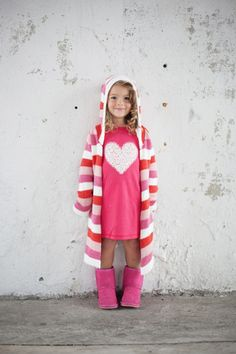 Red, Pink + Snow Stripe Cotton Robe - G.NANCY - Kids Pyjamas, Bedwear & other gear from New Zealand designer Georgia Nancy Nicholson Kids Nightwear, Girls Sleepwear, Stylish Outfits, Kids Outfits, Cute Outfits, Kids Pajamas, Pyjamas, Knit Fashion, Girl Fashion