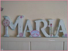 """""""Maria"""" Personalized Altered Art Letters Using Scrapbook Paper,  Flowers, Ribbon, And Embellishments @unratitodemi"""