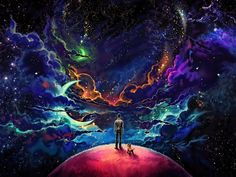 This HD wallpaper is about blue and purple cosmic star wallpaper, man and dog standing on top of planet painting, Original wallpaper dimensions is file size is Star Wallpaper, Wallpaper Space, Original Wallpaper, Wallpaper Backgrounds, Painting Wallpaper, Desktop Wallpapers, Wallpaper Notebook, Trippy Wallpaper, Fall Wallpaper