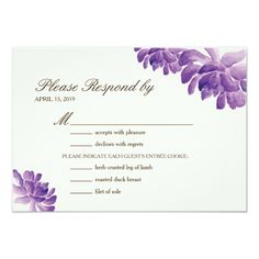 Wedding Response Menu | Watercolor Cactus Orchids 3.5x5 Paper Invitation Card