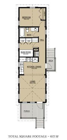 Here's the floor plan. It's just right for one person, at least if that person is me. It's a modified shotgun layout, which again is something not unheard-of where I grew up.   As built, I would change room depths to: front porch 8', living room 14', kitchen 9', bunk room 11', bath 5', bedroom 13'. I would also add a 9' back porch.